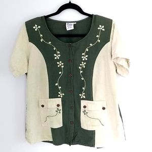 Papa Vancouver women's Y2K dark and pale green short sleeve blouse top size L